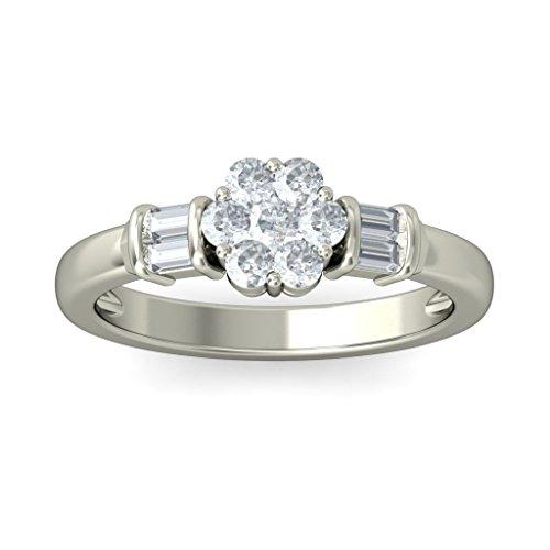 18K Or Blanc, 0,38carat Diamant Taille ronde (IJ | SI) en diamant