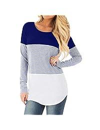 Aritone Womens Pregnant Long Sleeve Striped Blouse Maternity Layered Nursing Tunic Tops for Breastfeeding