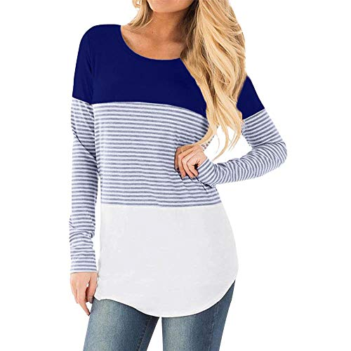 Clearance Deal ! Pregnants Shirt - Womens Casual Nursing Blouse Baby for Maternity Striped T-Shirt Tops (Size:XL, Blue)
