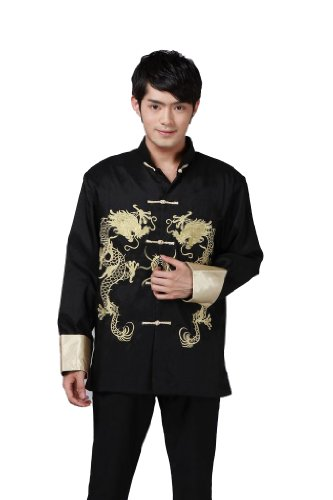 JTC Tai Chi Top Royal Kung Fu Jacket for Men Chinese Shirt Clothing (L, Black)