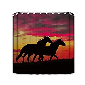 66 Inch Wide Polyester Bathroom Decor Masculine Shower Curtain Running Horses