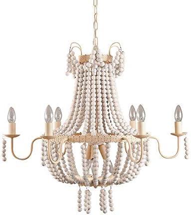 Lovedima Classic Distressed White Wood Beaded Chandelier Vintage Pendant 9-Light Kitchen Ceiling Lamp Light Fixtures 9-Light