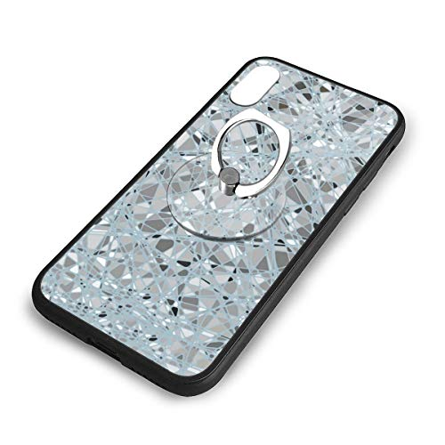 iPhone X Plus Cover Glass Mosaic Case with Finger Ring Stand XS Phone Kickstand Holder Shock Protective Basic Protector -