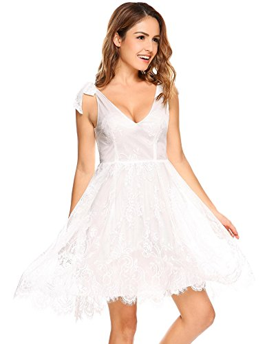 White Cocktail Lace Strap Women Bridal Ribbon Floral Bridal Lace Party bulges Dress Dress Floral Casual Dresses Adjustable Dress TqxT7fF