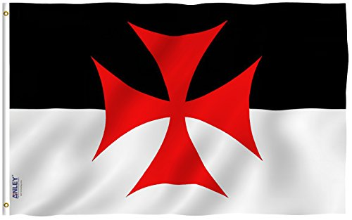Anley Fly Breeze 3x5 Foot Knights Templar Battle Flag - Vivid Color and UV Fade Resistant - Canvas Header and Double Stitched - Roman Catholic Church Flags Polyester with Brass Grommets 3 X 5 Ft