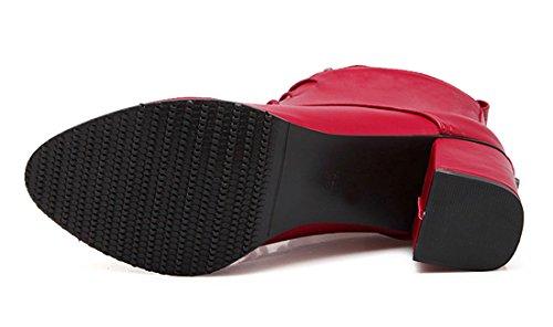 YE Damen Spitze Blockabsatz High Heels Stiefeletten Zum Schnüren mit Nieten 6cm Absatz Ankle Boots Rot