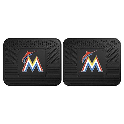 Fanmats 12333 MLB Miami Marlins Rear Second Row Vinyl Heavy Duty Utility Mat, (Pack of 2)