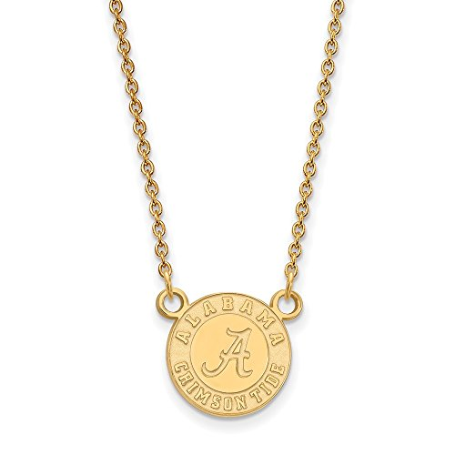 Sterling Silver w/ 14K Yellow Gold-Plated LogoArt Official Licensed Collegiate 18in University of Alabama (UA) Small Pendant w/Necklace by LogoArt