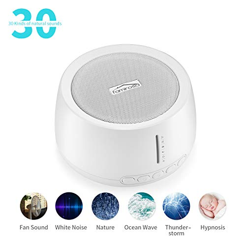 - White Noise Sound Machine for Sleeping, FAMIROSA 30 High Fidelity Soothing Sounds with High Quality Speaker, Memory Function & Earphone Jack for Baby, Adult, Office, Travel with Fan & Nature Sounds