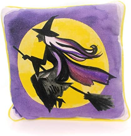 PBK Primitives by Kathy Halloween Flying Witch Full Moon Accent Pillow 11×11 inches Colorful Home Decor