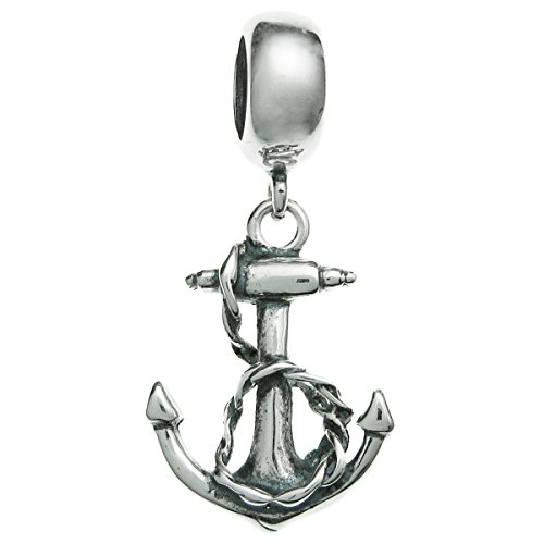 Sterling Silver Ship Anchor European Style Dangle Bead Charm