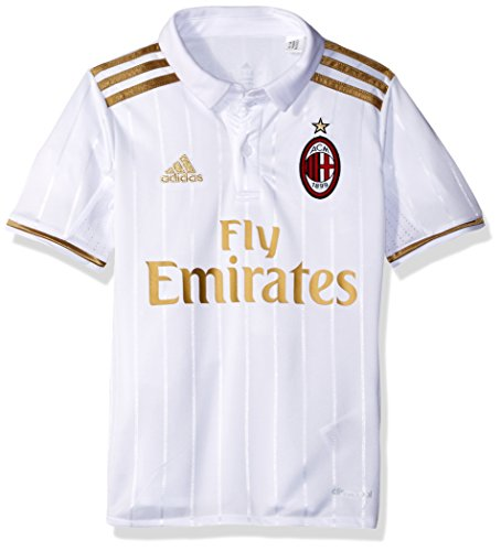 - adidas Boys' Soccer AC Milan Youth Jersey, White, Medium