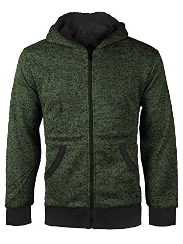 vkwear Boys Kids Athletic Soft Sherpa Lined Fleece Zip Up Hoodie Sweater Jacket (Small (8), Salt & Pepper (Olive)) - Olive Green Fleece