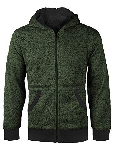 vkwear Boys Kids Athletic Soft Sherpa Lined Fleece Zip Up Hoodie Sweater Jacket (Small (8), Salt & Pepper (Olive)) ()