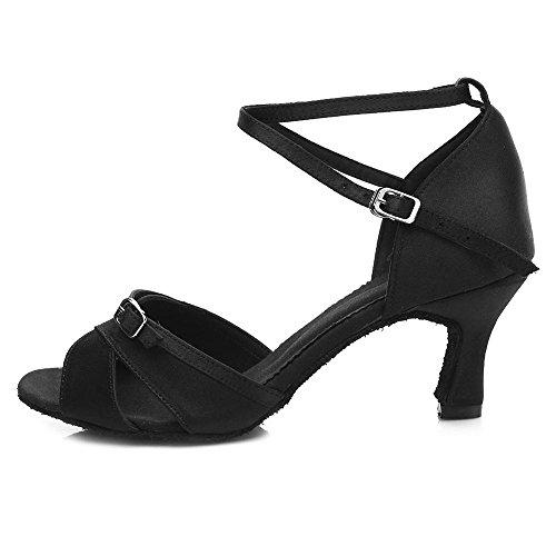 YFF Women Professional Dancing Shoes Ballroom Low Heel Latin Dance Shoes Black 7CM GIVjru