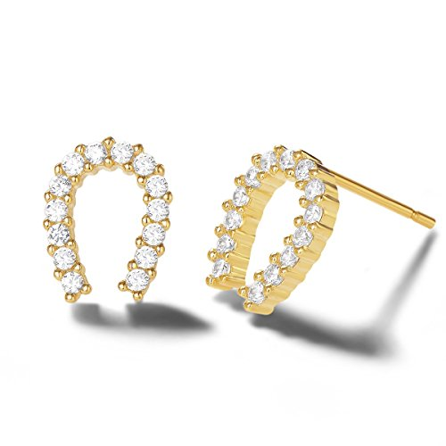 Carleen 14k Yellow Gold Plated 925 Sterling Silver Dainty Small Statement CZ Cubic Zirconia Cute Circle/Horseshoe/Triangle/Bow Tie/Merry Ring Stud Earrings Fine Jewelry for Women Girls