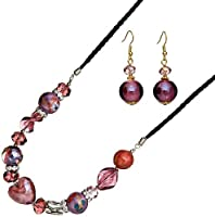 Ace Of Diamonds Aceyla Italian Murano Glass and Austrian Crystal 18 Inch with 3 Inch Extension Necklace and Earrings Set