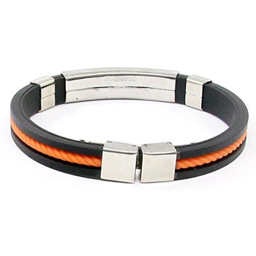 DENER Unsex Popular Braided Stainless Steel Leather Cuff Bangle Wristband Rope Stretch Bracelet (Orange Leather Bracelet)