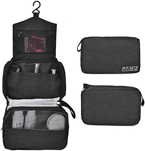 YouNITE 旅行シェービングDOPPキットオーガナイザーバッグパーフェクトトラベルアクセサリーギフトをぶら下げメンズトイレタリーバッグ (Color : Black)