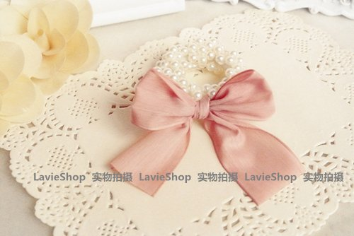 - Limit bow pearl caviar wide rubber band hair Hair Rope Year Business gifts