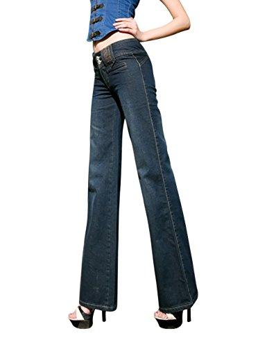 Mena Ricamo Il Uk Alta Delle Vestito Lunghi Sottili Donne Qualità Di Osserva Blu Bootcut I Jeans UfTaq