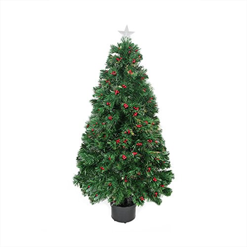 Northlight  Pre-Lit Color Changing Fiber Optic Christmas Tree with Red Berries, 4' (4ft Christmas Fibre Tree Optic)