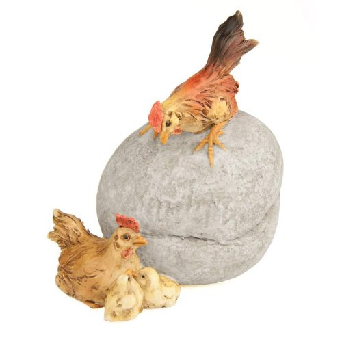 Kathys Show Tack Fiddlehead Fairy Village - Rooster on Stone W/Hen & Chicks 3