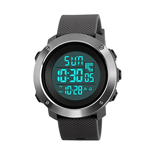 Gray Chronograph Alarm (Men's Led Digital Sport Watch Electronic Military Waterproof Wrist Watch W/ Alarm Stopwatch Dual Time Zones Chronograph EL Backlight Calendar (small, gray))