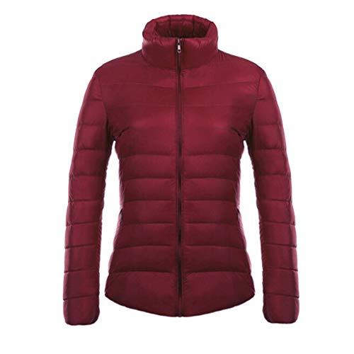 90 Collar Jacket Duck Ultra Stand Mujer Vino Slim White Sleeve Down Chaquetas Mxssi Light Down Long Parka Rojo qwCFgRC