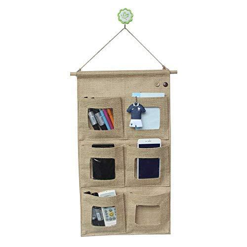Co-link Linen/Cotton Fabric Wall Door Closet Hanging Storage Bag Organizer (6 Pockets)