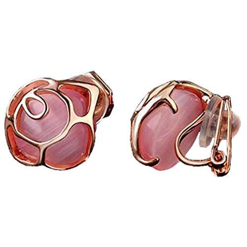 Pink Cat's Eye Stone Flower Clip on Earrings for Girls Women Back U Clip 18K White Gold Plated