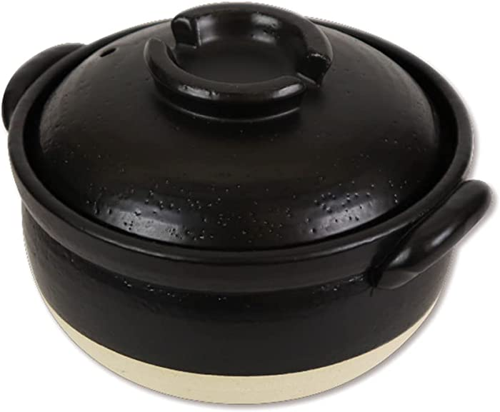 Clay Rice Cooker for 2 cups with Double Lids Clay Pot made in Japan, BANKOYAKI, Microwave Safe