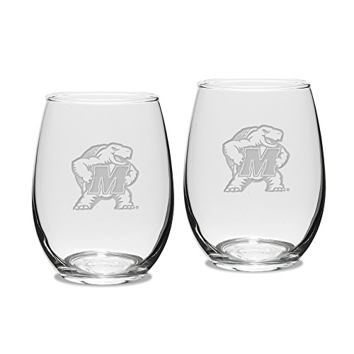 NCAA Maryland Terrapins Adult Set of 2 - 15 oz Stemless Wine Glass Deep Etched Engraved, One Size, Clear