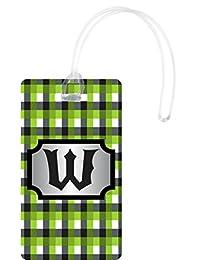 Rikki Knight W Initial GBG Plaid Monogrammed Flexi Luggage Tags, White