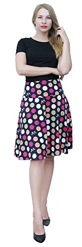 Marycrafts Women's Summer Floral High Waisted Knee Length Midi Skirt with Pocket XXL Polka Dot 2 (Two Pocket Skirt)