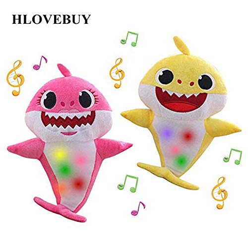 (Baby Shark Official Singing Plush, Music Sound Baby Shark Plush Doll Soft Baby Cartoon Shark Stuffed & Plush Toys Singing English Song for Kids Gift Children Girl (Yellow and Pink) (yellow and pink))