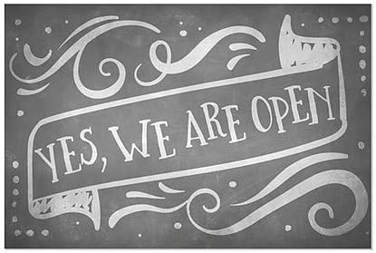 | 27x18 CGSignLab |Yes We are Open -Chalk Banner Window Cling 5-Pack