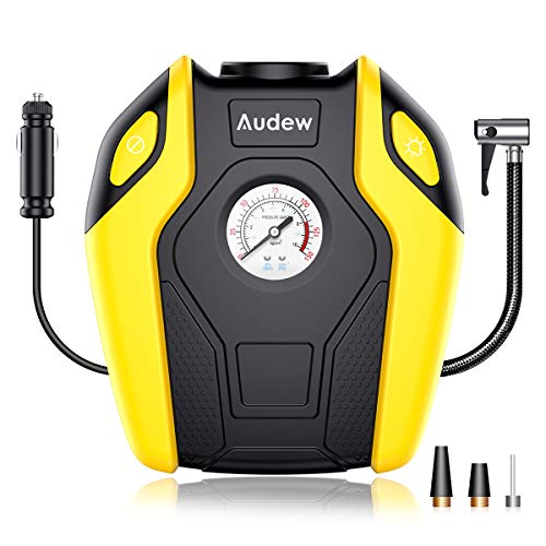 Audew Portable Air Compressor Pump, 12V DC Tire Inflator, 150 PSI Tire Pump for Car, Truck, Bicycle, RV and Other Inflatables