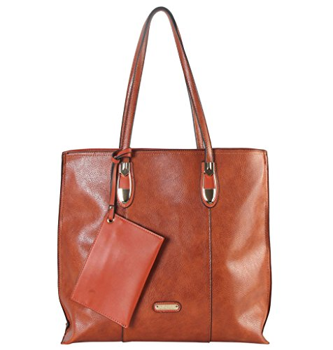 Diophy PU Leather Front Logo Large Tote Accented with Coin Purse Womens Purse Handbag AB-033