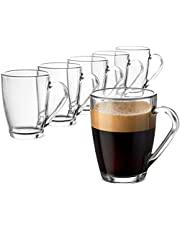 Bormioli Rocco ICON Glass Coffee Mug 10 ¾ Ounce (6 Pack) with Convenient Handle, Tea Glasses for hot and cold beverages, Thermal Shock Resistant, Tempered Glass, Great for Cappuccino, Latte, Espresso,