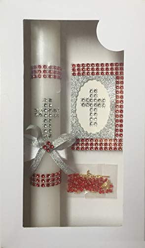 Boys Girls Confirmation Candle Gift Set Rosary Unisex Prayer Book English