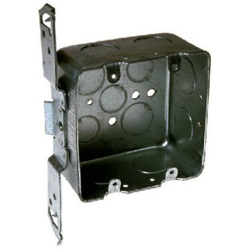 Hubbell-Raco 685 2-Device, 2-1/8-Inch Deep, 1/2-Inch and 3/4-Inch Side Knockouts, Wood/Metal Stud Bracket 4-Inch Square Switch Box, Drawn ()