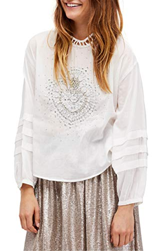 Free People Women's Heart of Gold Cotton Embellished Blouse White Large