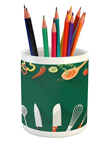 Pencil Pen Holder, Utensils Vegetables and Spices Cooking Dining Theme Creative Recipe Print, Printed Ceramic Pencil Pen Holder for Desk Office Accessory, Green Orange ()