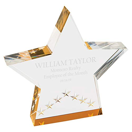 CustomizationMill Personalized Achievement or Graduation Plaque Award, Star Shape, Laser Engraved Clear Acrylic Award S_G