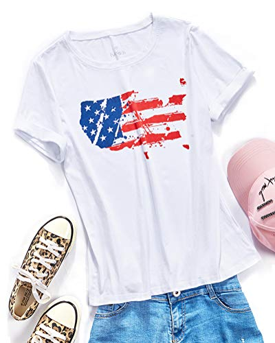 - fuinloth Women's Graphic Tees, Short Sleeve Crewneck Cute T-Shirts, Printed Cotton Summer Tops Flag White 2X-Large