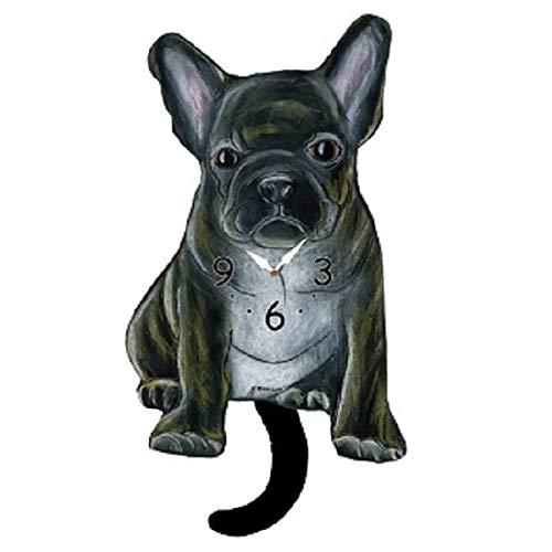 Brindle French Bulldog Dog Wagging Tail Pendulum Clock