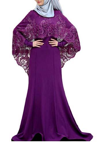 Jaycargogo Femmes Musulmanes Maxi Robe À Fleurs En Dentelle Robe Caftan Abaya Longue Robe Pourpre Islamic