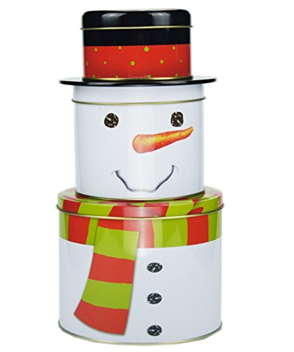 Cookie Tin Snowman (JKLcom Christmas Cookie Tins Set of 3, Decorative Cookie Gift Tins - Large, Medium and Small (Snowman))
