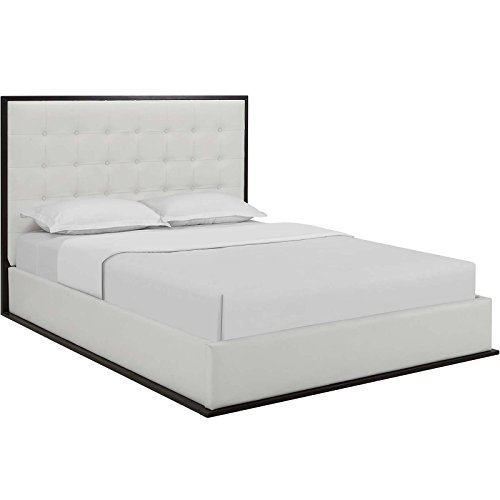 Modway MOD-5498-CAP-WHI Madeline Vinyl Bed Frame, Queen, Cappuccino White